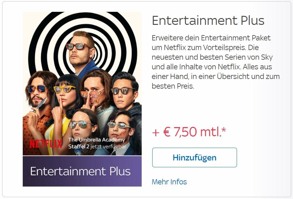 Sky Netflix zubuchen