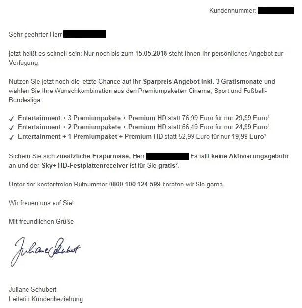 Sky Rückholangebote für Bestandskunden
