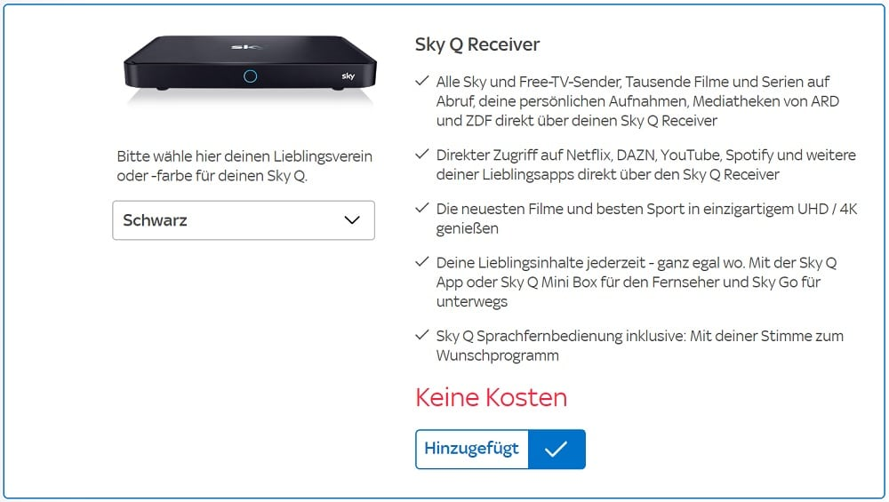 Sky Q Receiver Kosten