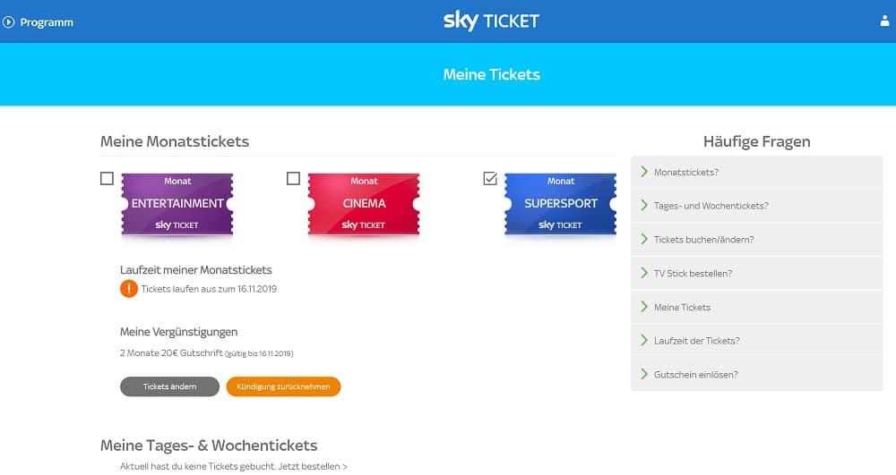 Sky Ticket kündigen