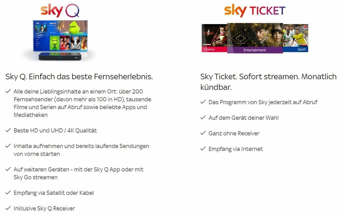 Sky Cinema Paket - Sky Q oder Sky Ticket