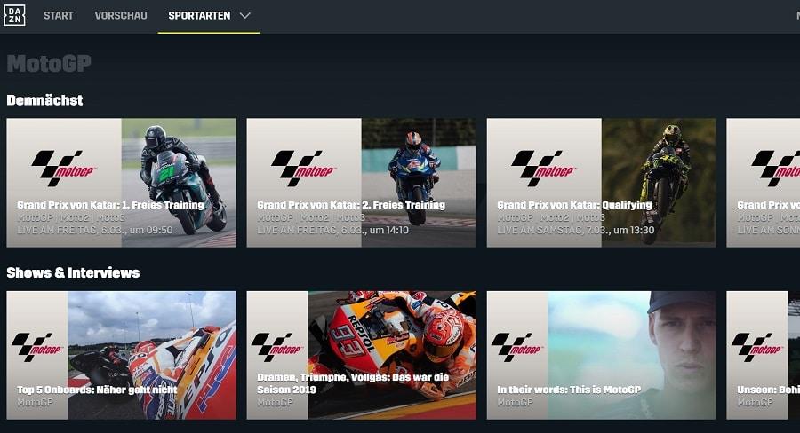 DAZN MotoGP Programm