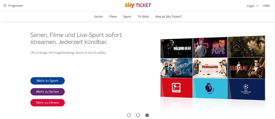 Sky Ticket Streaming Dienst