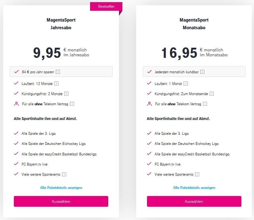Magenta Sport ohne Telekom Vertrag