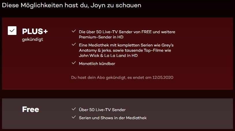 Joyn Plus+ gekündigt