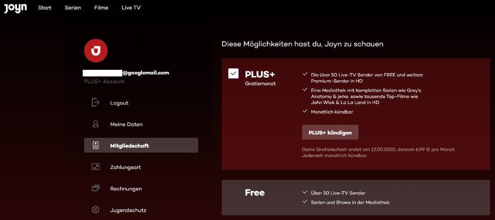 Joyn Plus+ kündigen