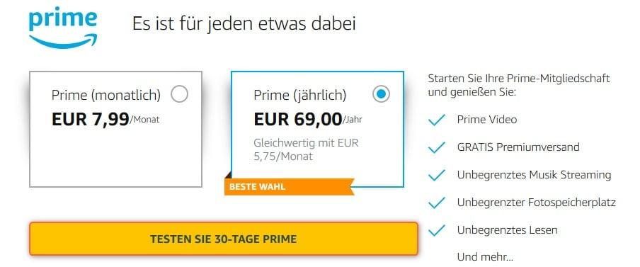 Amazon Prime Video Kosten