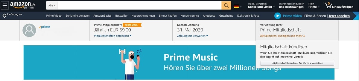 Amazon Prime Video kündigen