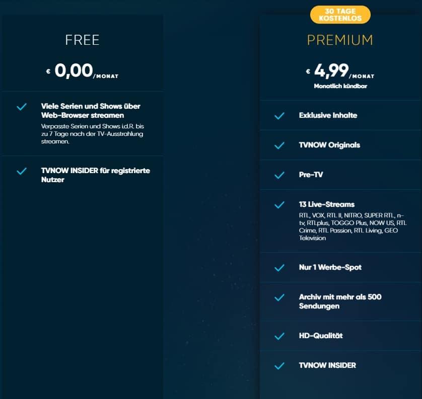 Unterschiede TV NOW Free und Premium Paket