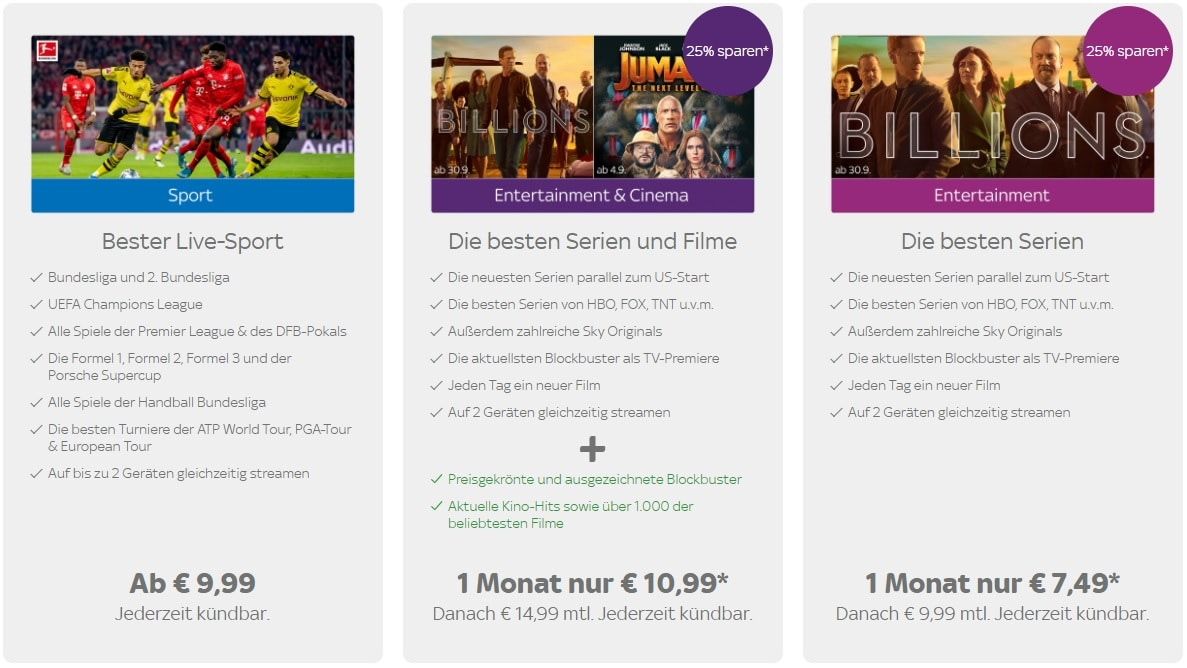 Sky Entertainment Ticket Angebote
