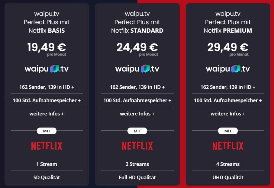 Waipu TV Kosten mit Netflix