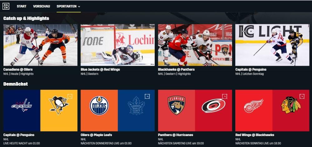 DAZN NHL Highlights und Programm