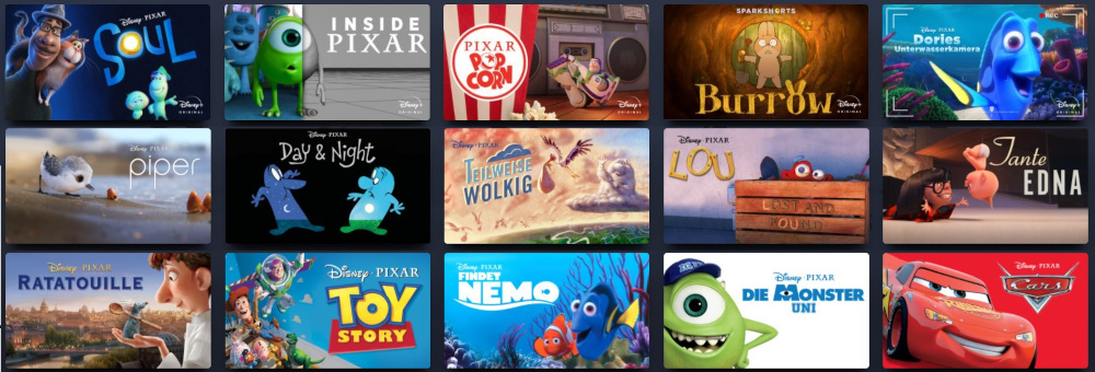 Disney+ Pixar Programm