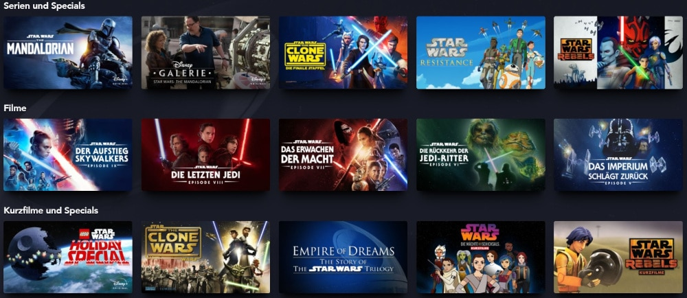 Disney+ Star Wars Filme und Serien