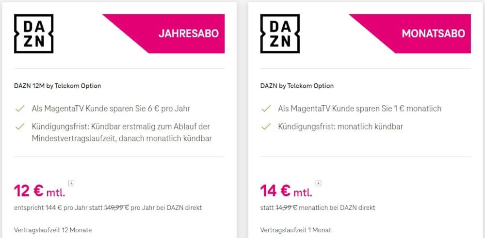 DAZN Angebote bei Telekom