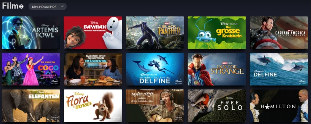 Disney+ 4K: Filme in Ultra HD und HDR