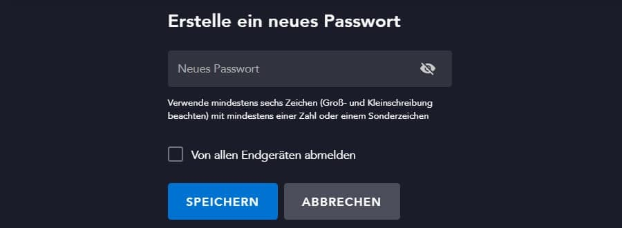 Disney Plus Passwort ändern