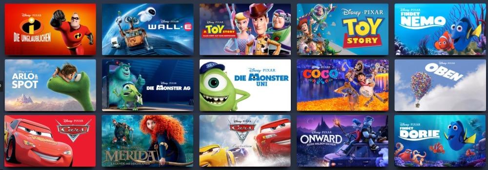 Pixar Filme bei Disney+
