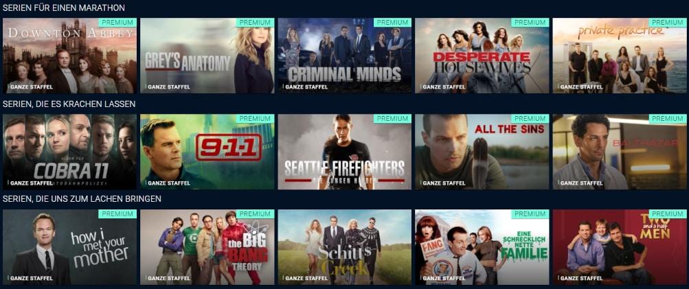 Sendungen und Serien bei TVNOW
