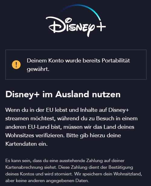 Disney Plus im Ausland schauen - Portabilität