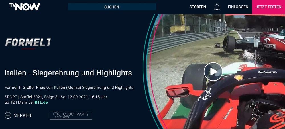 Formel 1 Live Stream bei TVNOW