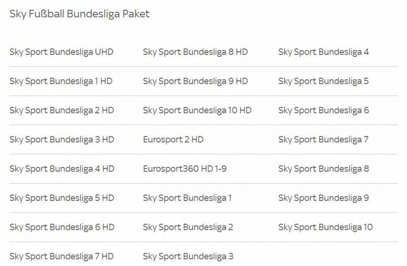 Sky Sender Fußball Bundesliga Paket